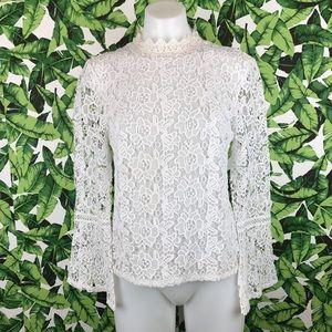 5 for $25 Bebe White Crochet Bell Sleeve Blouse